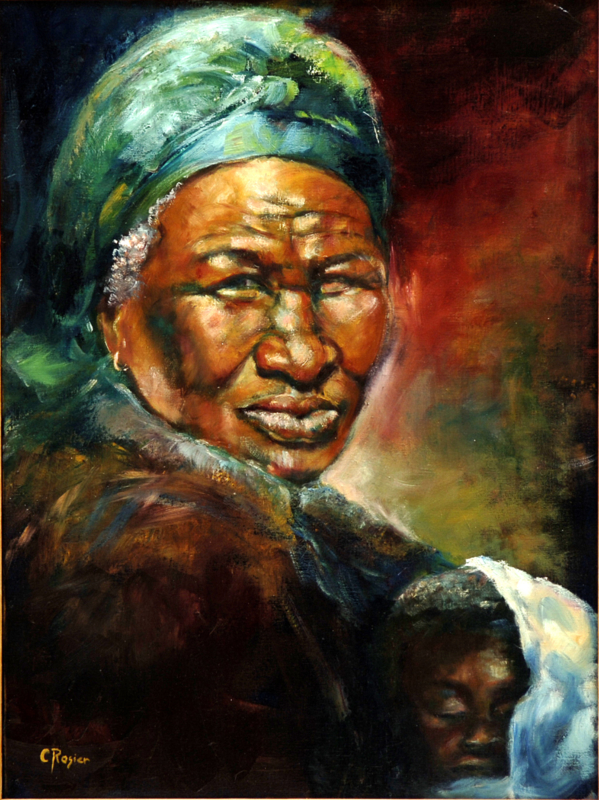 Ghanaian grandma with grandchild - reproduction on art poster