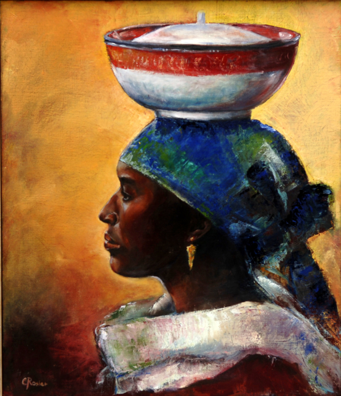 Woman from Uganda - reproduction on canvas