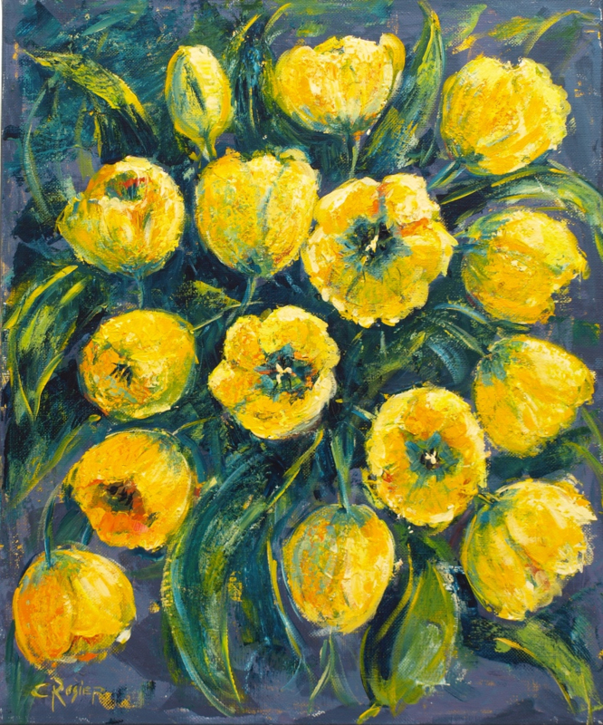 Tulips yellow - reproduction on art poster