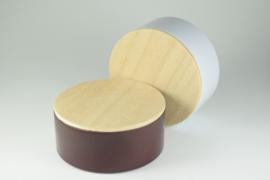 Rond blikje met houten deksel - per 10 stuks