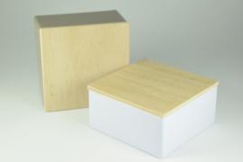 Vierkant blikje met houten deksel - per 10 stuks