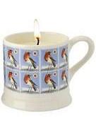 espresso mug candle Christmas stamp robin