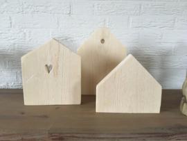 Houten huisjes (set van 3)