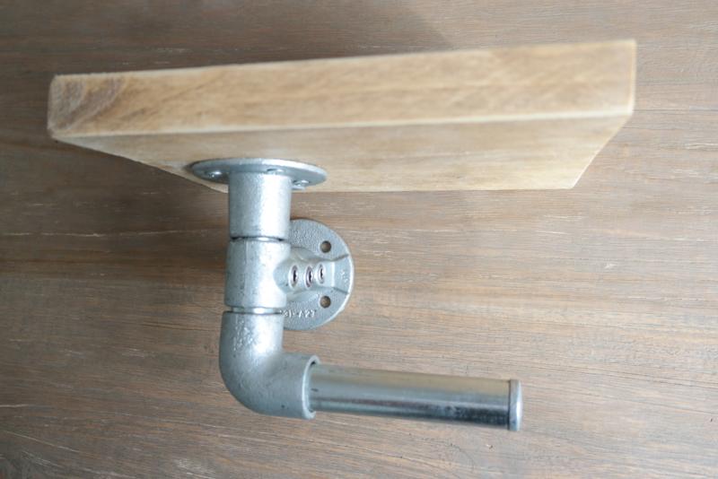 Toiletrolhouder steigerhout en steigerbuis