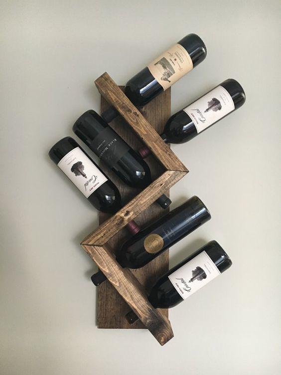 Wijnrek voor 6 flessen diagonaal
