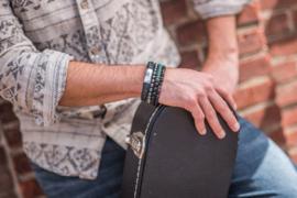 Morse code armband papa, onyx