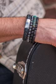 Morse code armband opa, onyx