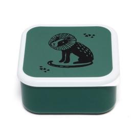 Lunchbox zwarte leeuw op groen | Petit Monkey