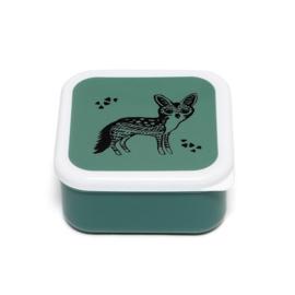 Lunchbox zwarte vos op groen | Petit Monkey