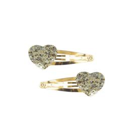 Haarknipjes Glitter Hart | Zilver