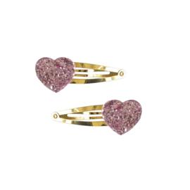 Haarknipjes Glitter hart | Roze