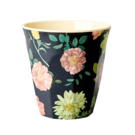 Rice melamine beker | Dark rose print