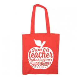 Totebag/Schoudertas Teacher | Rood