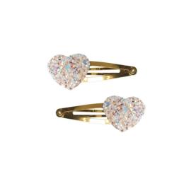 Haarknipjes Glitter Hart | Wit/roze