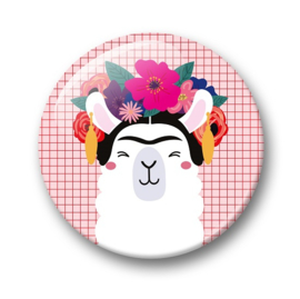Button Frida Kahlo Llama | 32 mm