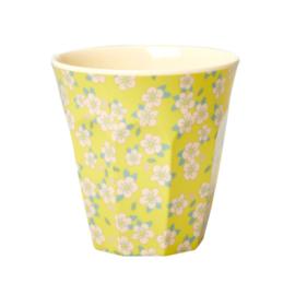 Rice melamine beker | Bloemetjes geel