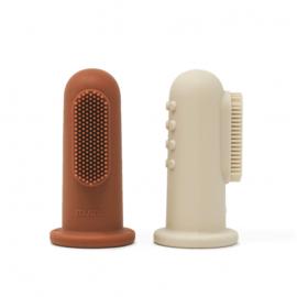 Mushie - Set van 2 baby tandenborstels   Shifting sand & Clay