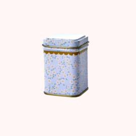 Bewaarblikje Bloemen Blauw-grijs | Rice