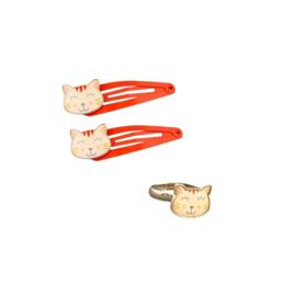 Set van haarknipjes & ring | Poes