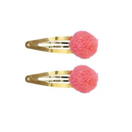 Haarknipjes Pom pom | Fel roze