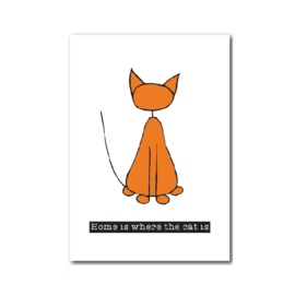 Postkaart | Home is where the cat is