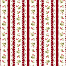 Tiny Roses with stripes red on white
