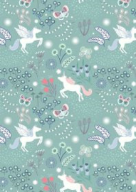 Unicorn meadow on soft teal