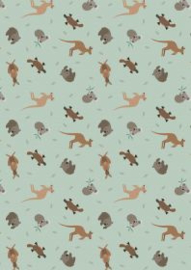 Australian animals on soft eucalyptus