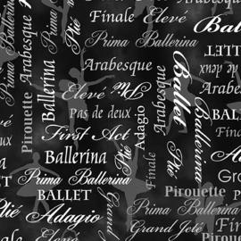 Ballet Words Black/Gray