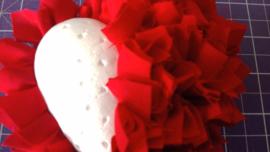Fluffy hart gemeleerd rood