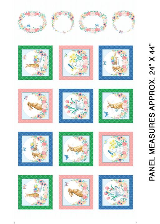 Bunnies & Blossoms Block White