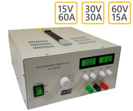 Regelbare voeding 60V/15A, 30V/30A, 15V/60A