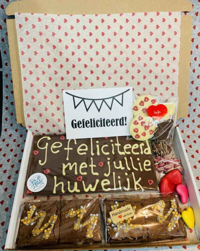 Pakketje met eigen tekst op chocoladereep