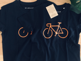 Fiets t-shirt - Donkerblauw Sunset bike