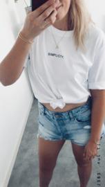Simplicity - Boyfriend T-Shirt -Wit - Cream White - Zwart
