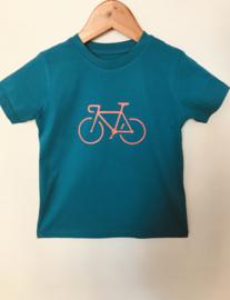 Organic Kids T-Shirt | Petrol Sunset Bike