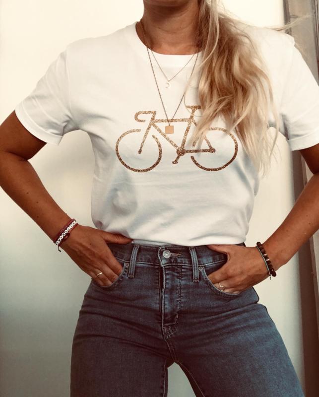 Bike Gold   White Boyfriend T