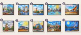 Schilderijen Rotterdam Als Van Gogh - 3 x vierkant schilderij 50 x 50 cm