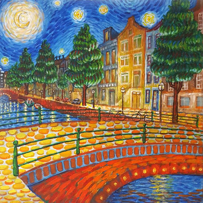 Amsterdam Canal Moonlight Like Van Gogh