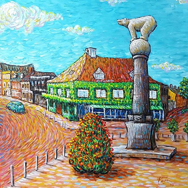 Schilderij Polar Bear Roosendaal Centrum Als Van Gogh by Erika Stanley
