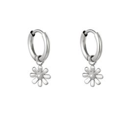 Oorbel daisy silver