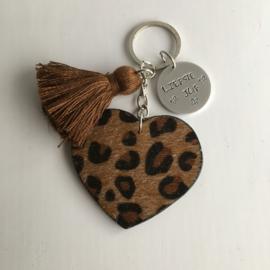 Sleutelhanger leopard hart camel bruin