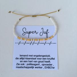 Morse Super Juf wit-geel