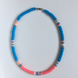 Surfernecklace Blauw-koraal