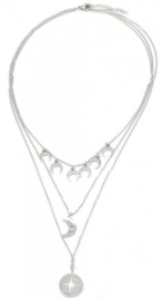Ketting stainless steel zilver moon and star