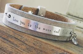 Lederen armband met tekst