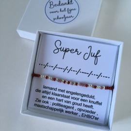 Morse Super Juf rood-mauve