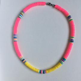 Surfernecklace Neonpink- geel