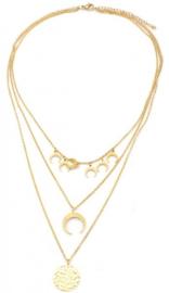 Ketting stainless steel goud amulet