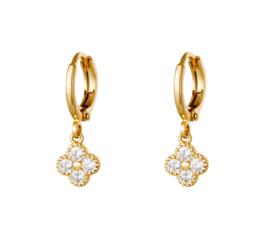 Oorbel diamant bloem goud